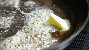 melting butter in the pan