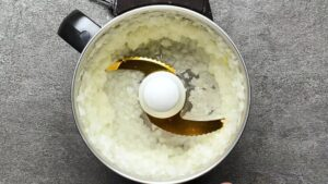 blending one onion in a food processor
