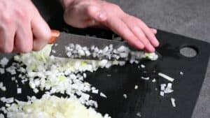 finely dicing onions