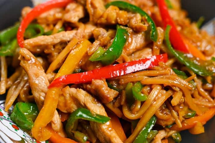 Chinjao Rosu Japanese pork and pepper stir fry close up