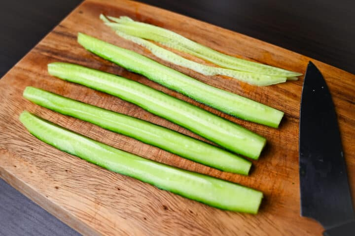Seeds removed from cucumber