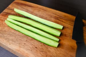 Small cucumber cut into quarters lengthways