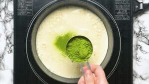 Sifting matcha powder