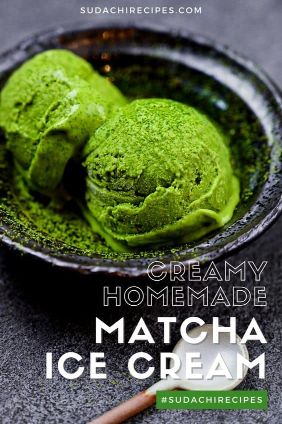 two scoops of matcha green tea ice cream served in a black bowl side view