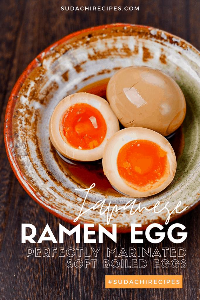 Japanese ramen eggs in a small dish