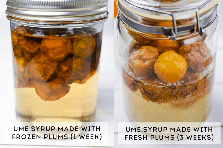 comparing ume syrup made with frozen ume vs fresh ume