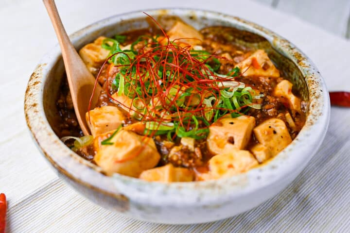 Japanese mabo tofu with wooden spoon