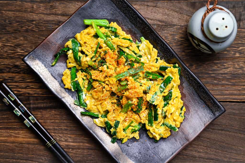 Niratama garlic chive and egg top down diagonal