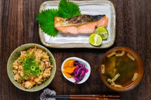 Shiozake as a teishoku set with takikomigohan, pickles and miso soup